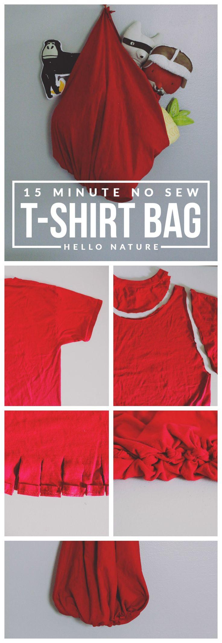 Design your own eco-friendly t-shirt - 15 Minute No Sew T Shirt Bag Diy