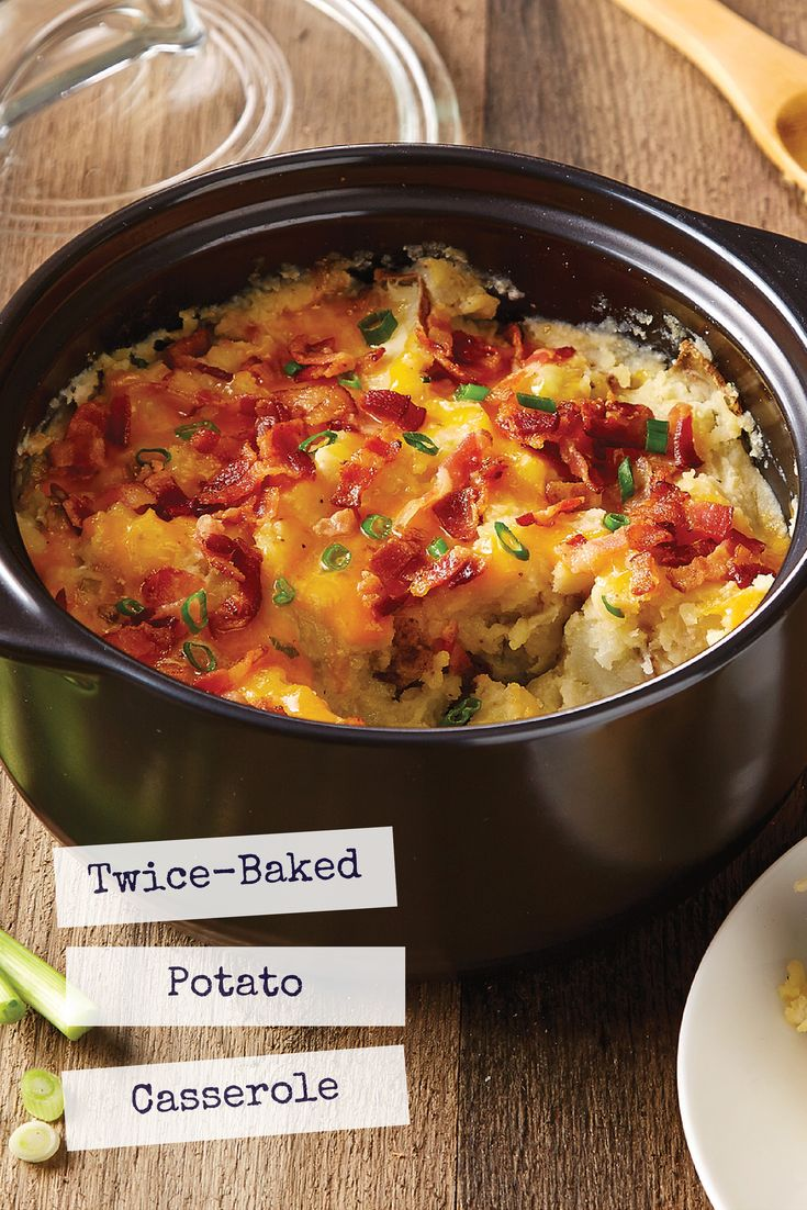 This is the Pampered Chef Rockcrok! Easy Twice-Baked Potato Casserole Contact me for the recipe!