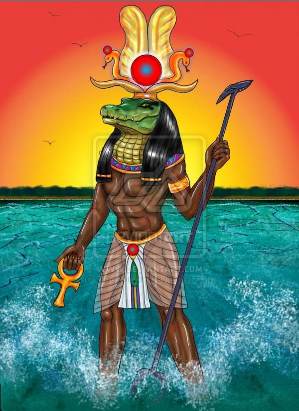 Sobek - Crocodile God  Pantheon: Egyptian  Element: Water  Sphere of Influence: Water and Crocodiles  Preferred colors: Green, White  Associated symbol: Crocodile Head   The son of Set and Nephthys, Sobek teaches 'eat or be eaten' - survival of the fittest. He is also the protector (or tormentor) of those that would travel on rivers and in swamps.  In Egyptian mythology, Sobek was the crocodile-god who symbolized the fertility of the Nile River and the authority of the pharaohs.