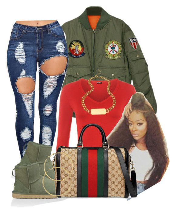 """Cookie // R. Kelly "" by httpsydney ❤ liked on Polyvore featuring WearAll, UGG Australia, Gucci, A.V. Max and Melissa Odabash"