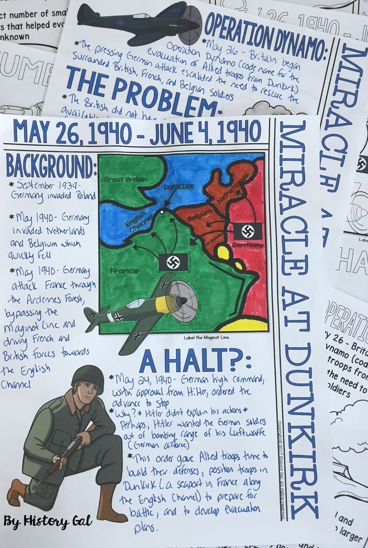 Students can color and doodle as they take notes to learn about the massive World War II rescue operation known as the Miracle at Dunkirk that occurred May 26 - June 4, 1940. This 30 page resource is great for 8th, 9th, 10th, and 11th grade classroom or home school students. You get directions, doodle notes, and  PowerPoint. It's perfect for your US or World History lessons or unit study. Grab your printables today! {eighth, ninth, tenth, eleventh graders, high school, social studies}