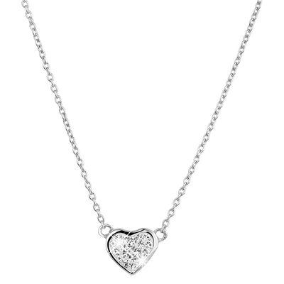 Zilveren ketting&hanger hart met Swarovski Crystal (1022519)