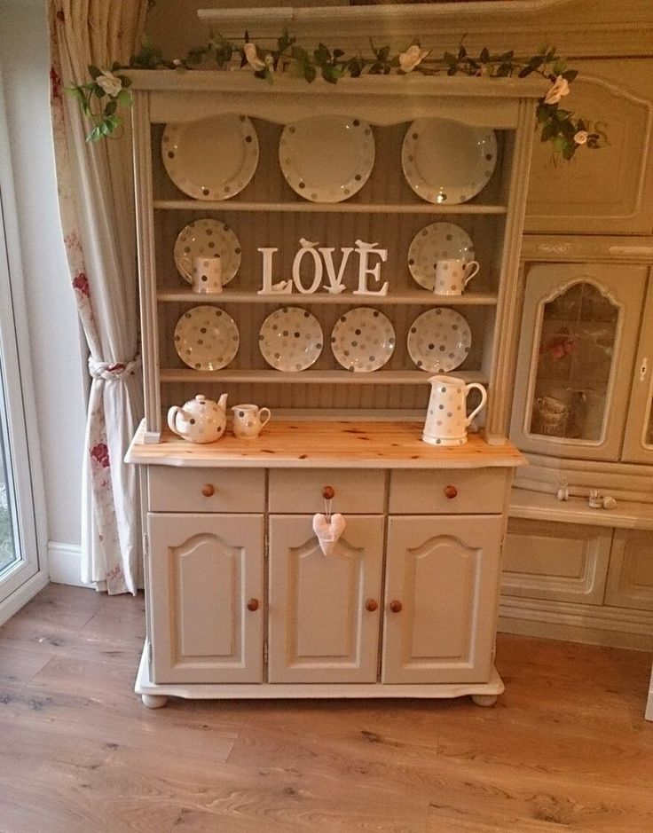 pine shabby chic kitchen dresser sideboard cabinet. Black Bedroom Furniture Sets. Home Design Ideas