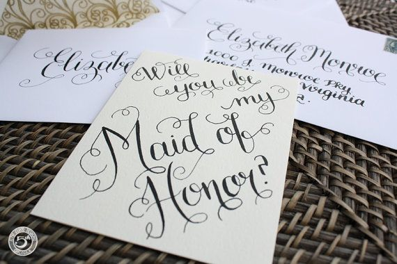 Will You Be My Maid of Honor Handwritten Card and Envelope Addressing ...