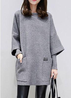 Повседневное платье из хлопока длины выше колена цвета сплошного с рукавами 1027181/1027181 (1027181) @ floryday.com