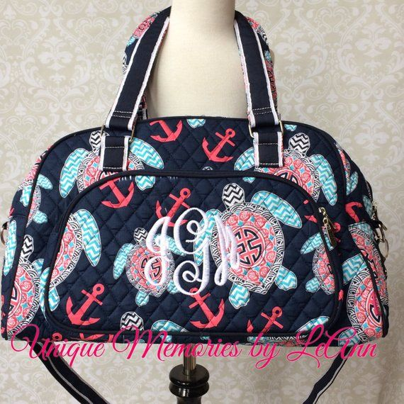 a98e01927256 Turtle Anchor duffle bag quilted w/detachable bows FREE Monogram ...