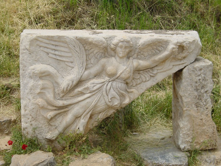 Nike, goddess of victory, ancient Priene, Turkey -- classical Greek, 5th C. BC.