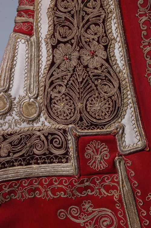 Burgundy and ivory embroidered waistcoat, probably Attica, Greece, late 19th century