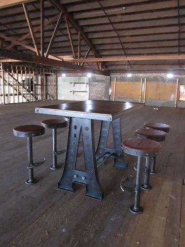 French Industrial Bar Table / Restaurant Pub/Vintage Bolt Down Stools