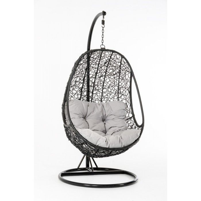 The web-like design on the pod shaped Kauai Hanging Lounge Chair is made of black weatherproof rattan. The organic design resembles nature itself. Relax in the pod on the soft white cushions and let the natural swinging motion rock you to sleep. A sturdy black powder coated pole supports the pod and provides stability.