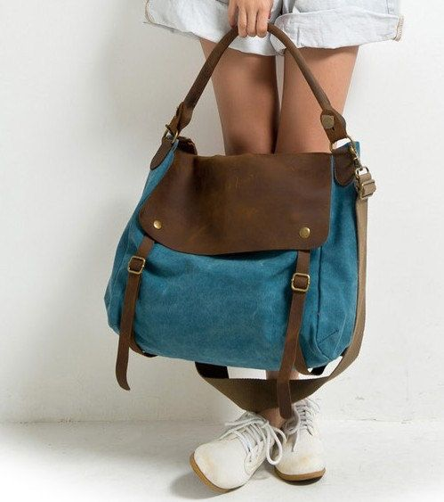 Blue Canvas-Leather Tote/ Shopping bag / Shoulder Bag/ Woman bag/ Leather Satchel/ Canvas bag. $68,50, via Etsy.