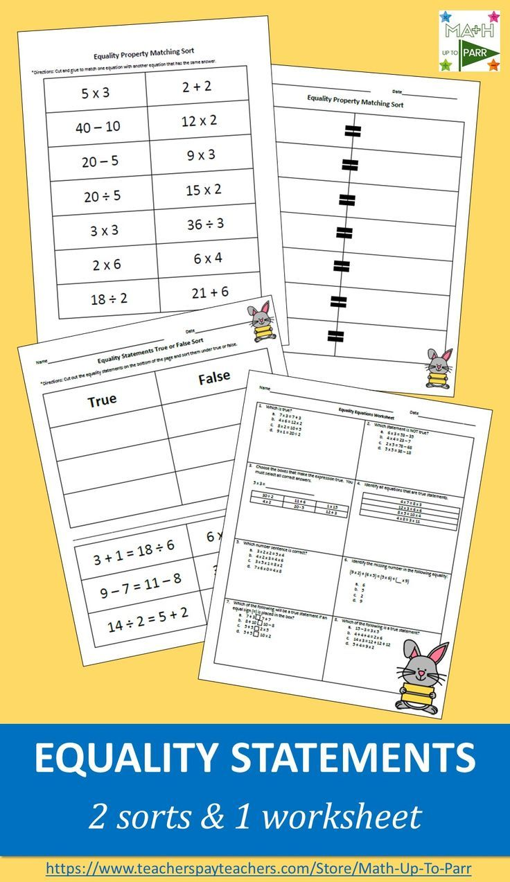 Equality Equations Worksheet And Sorts Math Resources Equations Worksheets