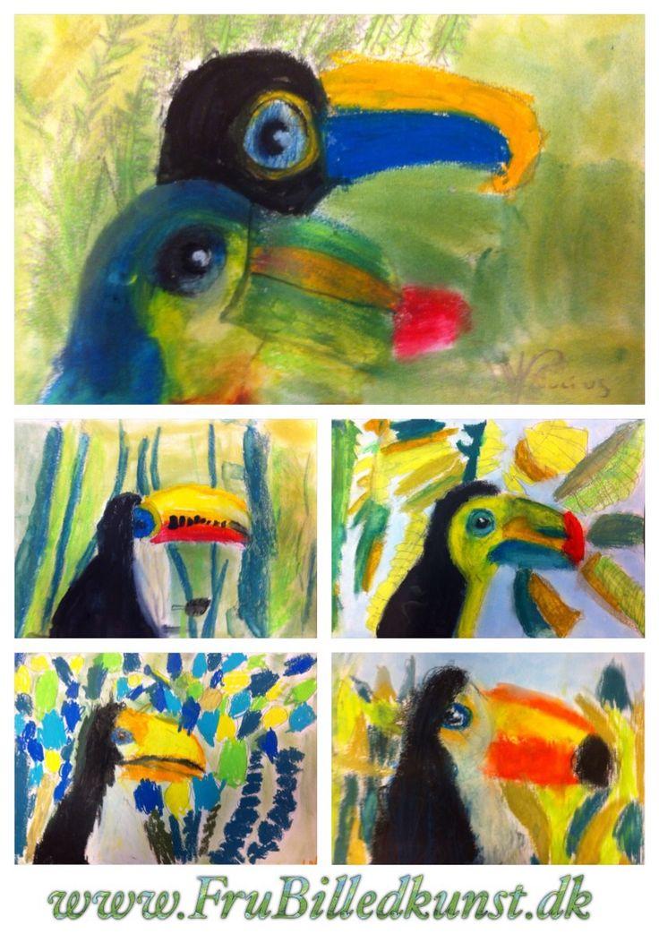 """Så har min 1.klasse fået deres første """"rigtige"""" billeder færdige. Inden da har de arbejdet med formalfabetet, abstrakt tegneleg og tegnet deres """"første fugl"""". Tukaner er et godt efterfølgende valg:..."""