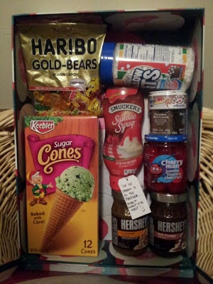 """Ice Cream Sundae Gift Box (with a note saying """"Ice cream's in the freezer."""")"""