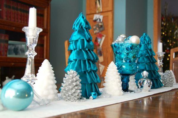 weihnachtsdeko blau weiß weihnachtlich dekorieren