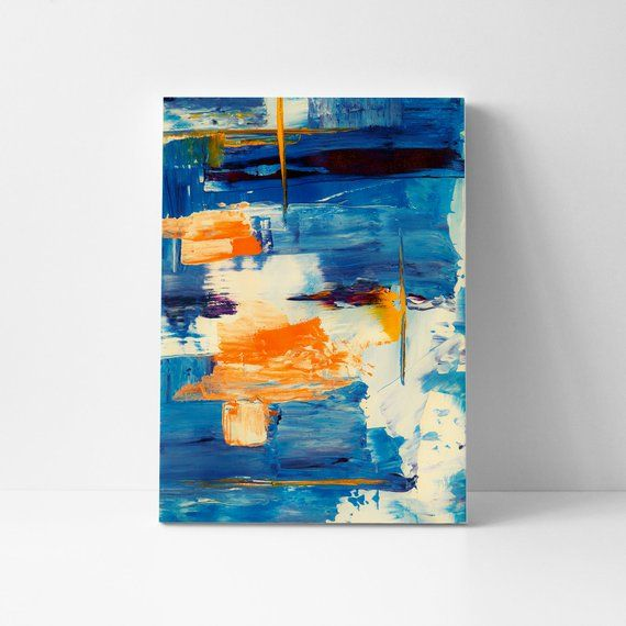 Abstract Blue Canvas Blue Orange Abstract Large Canvas Etsy Large Canvas Prints Orange Wall Art Abstract Canvas