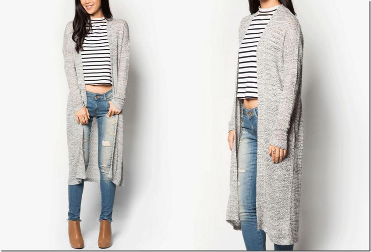 light grey long cardigan