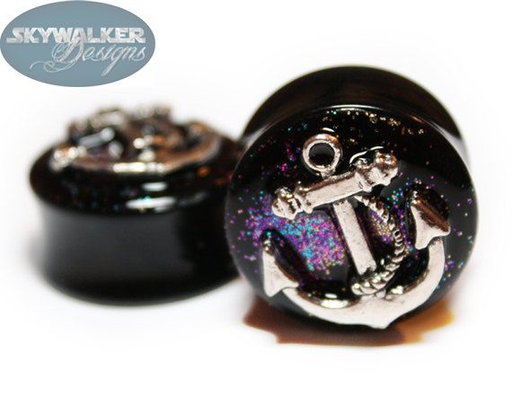 I could make these...Make your own glitter plugs out of tunnels, glitter & glue. Then glue on anchors from the jewlery dept.!