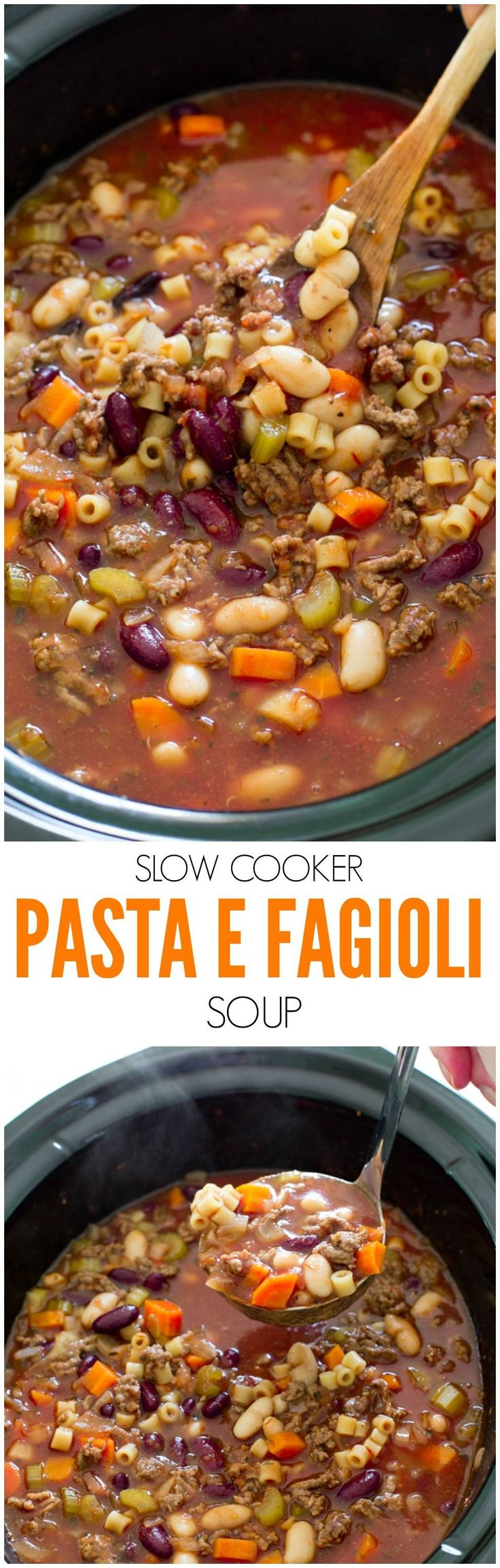 Super Easy Slow Cooker Pasta e Fagioli Soup. Rich, hearty and loaded with veggies and meat. A perfect, comforting soup for Fall! fast diet phase 1