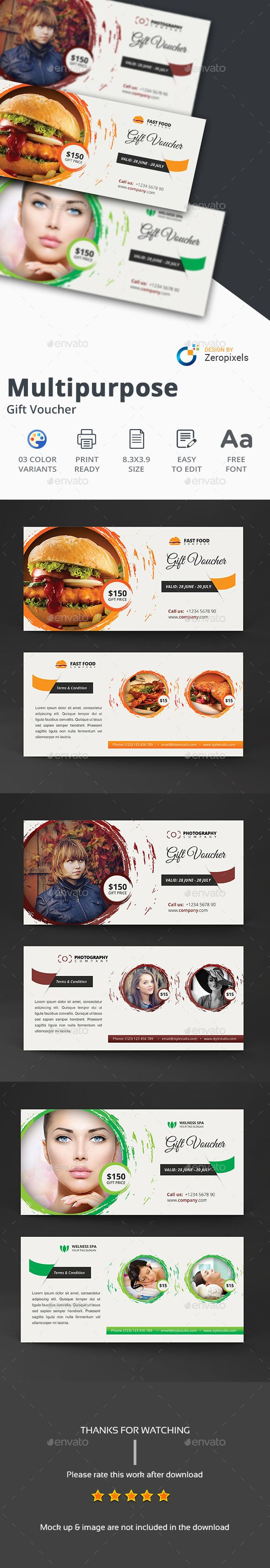 Multipurpose Gift Card Certificate / Voucher Template PSD. Download here: https://graphicriver.net/item/multipurpose-gift-card-voucher/17356018?ref=ksioks