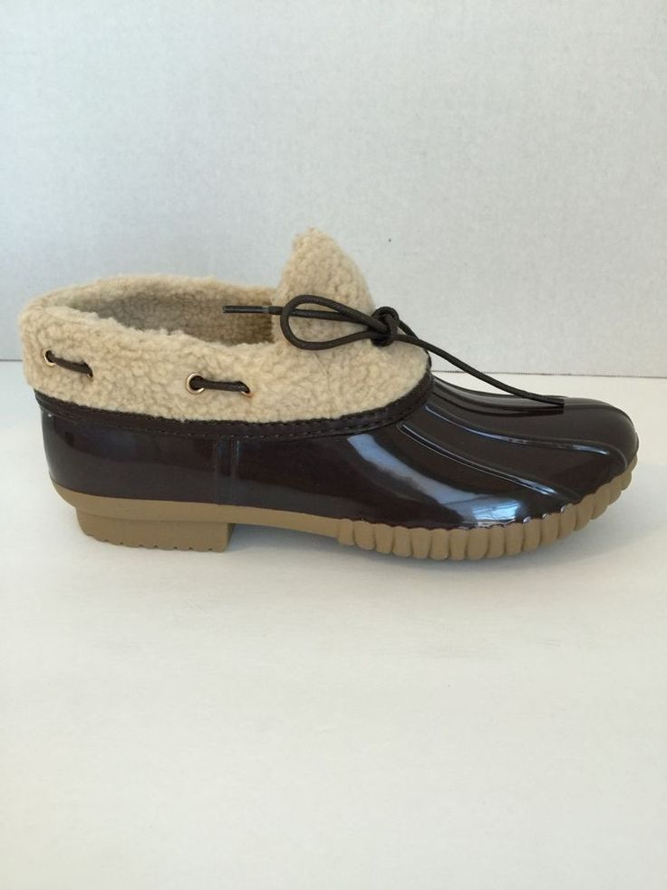 DYLAN-12 - WOMEN'S TWO-TONE SLIP-ON DUCK SHOES - BROWN #YOKI #SlipperBoots