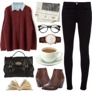 Suéter bordô + camisa azul + calça preta