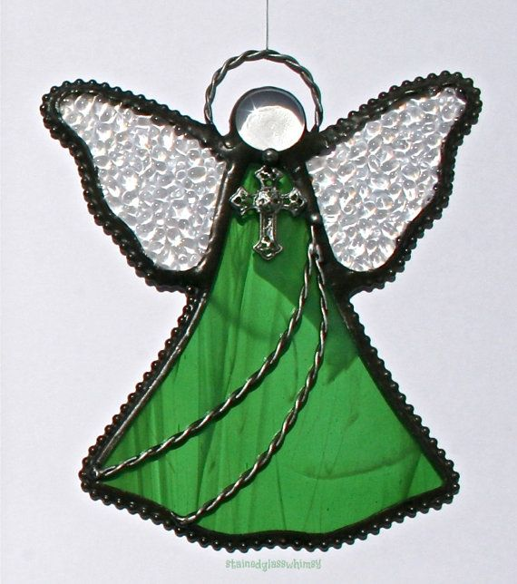 Stained Glass ANGEL Suncatcher, Wispy Green  White, with Clear