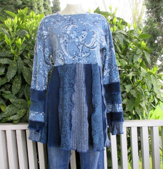 Cotton Recycled Sweater Tunic Upcycled Clothing by ThankfulRose
