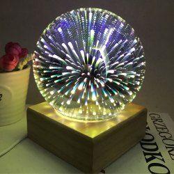 Ball Shape Colorful 3D Fireworks USB Table Lamp with Wood Base - Purple Christmas Living Room