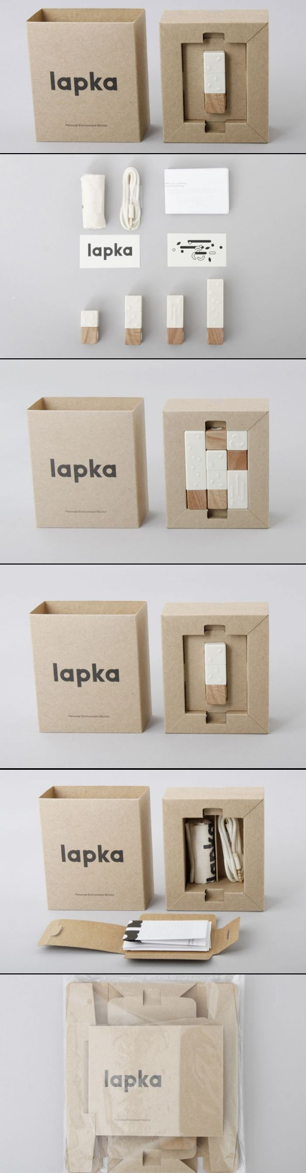Lapka. Lapka is a collection of small sensors that attach to your iPhone through the headphone jack. They allow you to take measurements and assess the quality and healthiness of your surrounding environment. After the pack has been opened and the hero product removed users are invited on a voyage of discovery through the packaging as they dig down to unearth peripherals and printed literature. This again stems from the science of discovery encapsulated within the product.