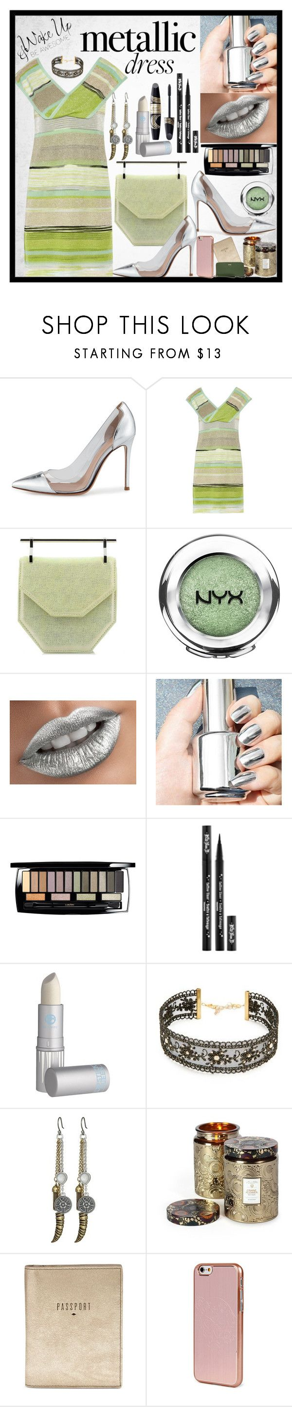 """Metallic Dress"" by fantasiegirl ❤ liked on Polyvore featuring Gianvito Rossi, Missoni, M2Malletier, NYX, Lancôme, Kat Von D, Max Factor, Lipstick Queen, Chan Luu and Lucky Brand"