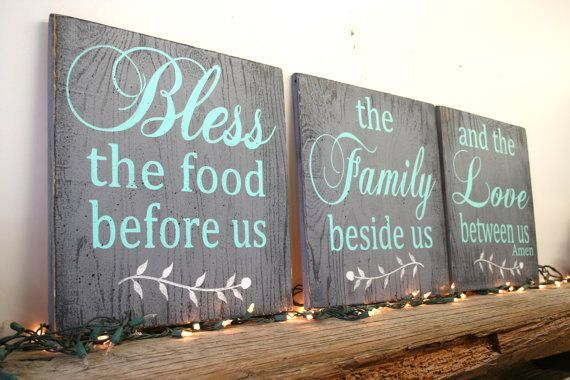 A set of three wood signs for your home. Each sign measures 10 x 10, 12 x 12, 15 x 15 18 x 18 or 20x 20. The background is painted Gray and