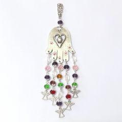 Ölçüler: 6 cm x 24 cm Materyal: Fatma Ana'nın eli gümüş kaplama, boncuklar kristaldir.