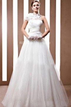 Col haut robe de mariée princesse dentelle plis croisée traîne watteau en multi-couches satin