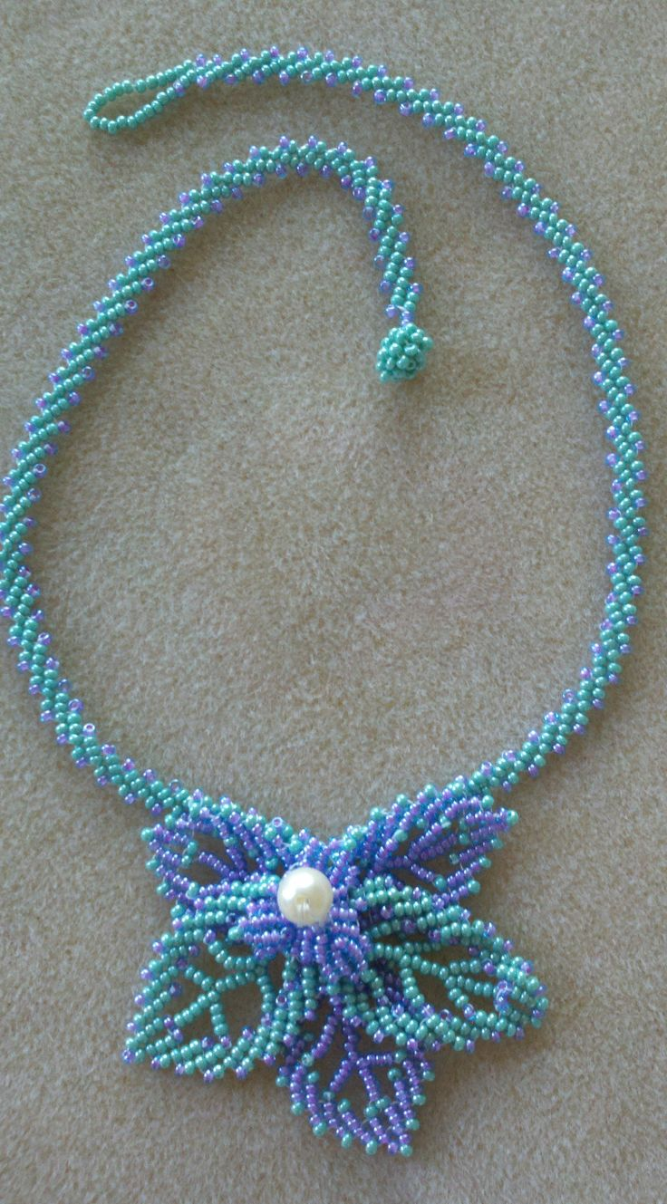 Russian leaf necklace with st. petersburg stitch chain.