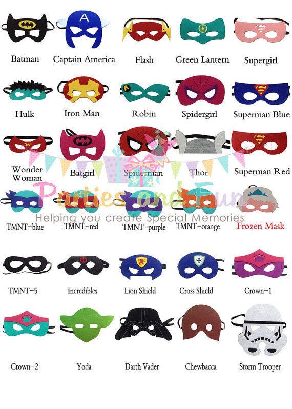 12 Superhero Mask, Superhero Party Favors, Super Hero Favor, Star Wars Mask, Spiderman Mask, Batman Mask, Ninga Turtle Mask, Superhero Party