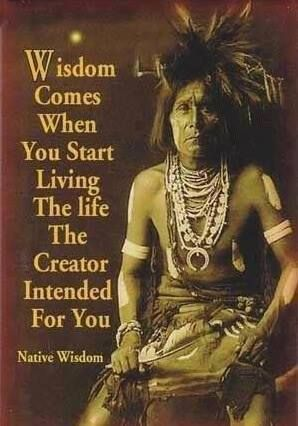 """Wisdom comes when you start living the life the Creator intended for you."" (Native Wisdom)"