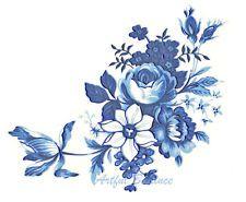 Ceramic Decals BLUE MEISSEN Rose Mixed Floral Flower Bouquet 3 1/2 inch