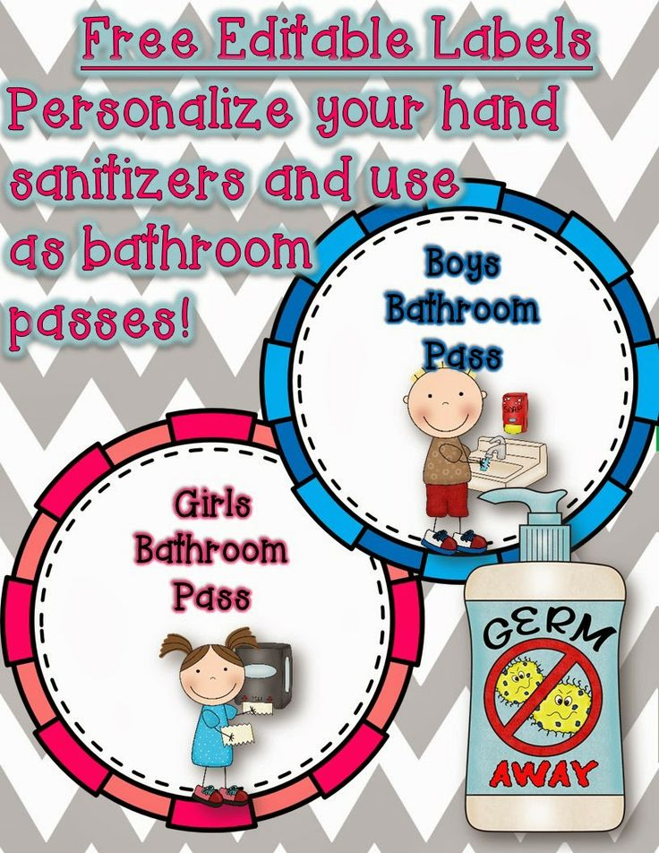 Keep those germs away! Free editable labels for your classroom hand sanitizer bathroom passes!