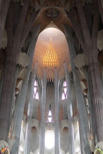 La Sagrada Familia. Antoni Gaudi. Barcelona, Spain. Gaudi started work on the project in 1883. Building still under construction. Estimated completion 2026.