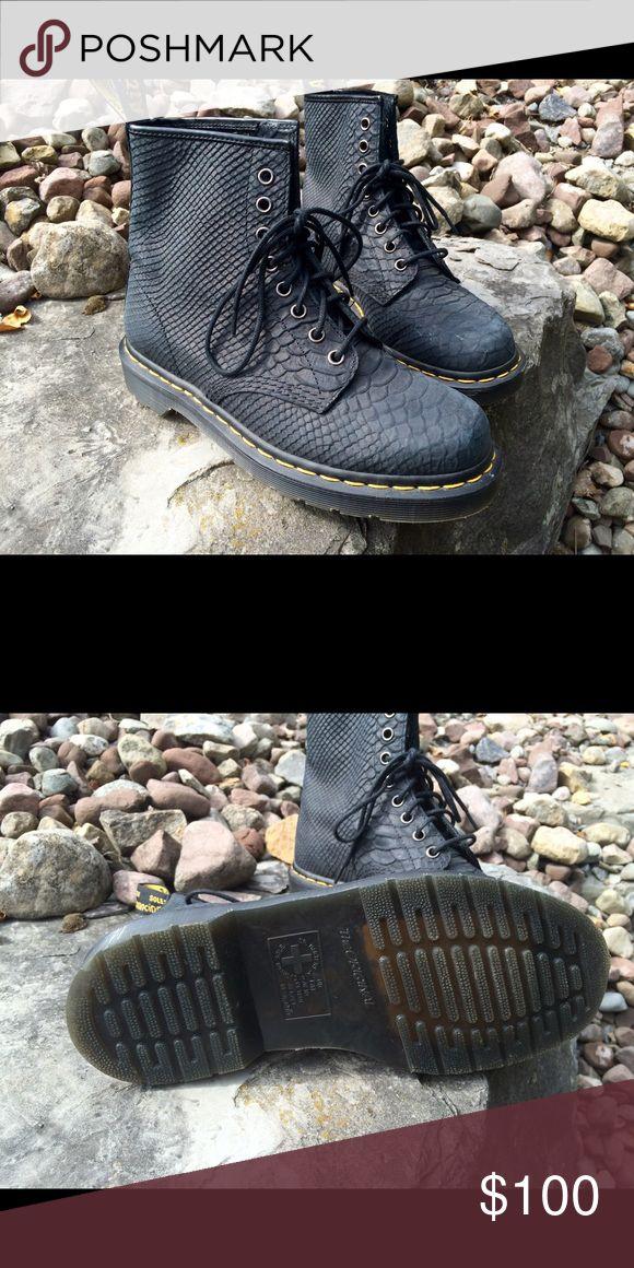 NWOT Dr. Marten Black Pebbled 1460 8 Eye Boot Fantastic Doc Marten in soft black carpathian leather, faux croc. Never worn. Unisex. Dr. Martens Shoes Combat & Moto Boots