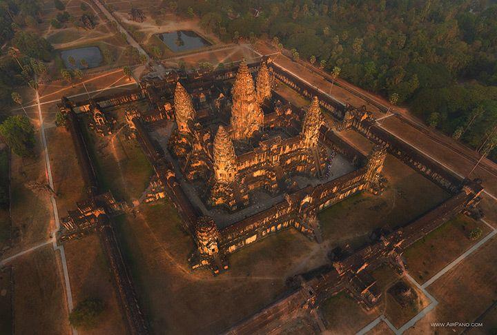 Vista áerea de templo en Angkor Wat Camboya