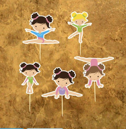 Gymnastics Cupcake Toppers - Gymnastics Girl - Gymnastics Birthday Party - Gym Girl Party .                                                                                                                                                                                 More