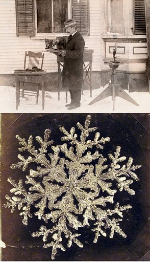 "Wilson ""Snowflake"" Bentley (1865-1931 born in Jericho, Vermont): The first known snowflake photographer.  I've been to the museum in Jericho, VT - so very interesting."
