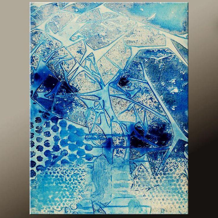 Blue Abstract Canvas Art Contemporary Painting by