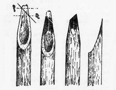 http://www.designinindia.net/design-thoughts/writings/history/india-history-type-design1.html  Bamboo pens - also known as Reed pens used for writing devanagiri script. The 45 degree cut is the reason for the thick and thin features of the letterings.