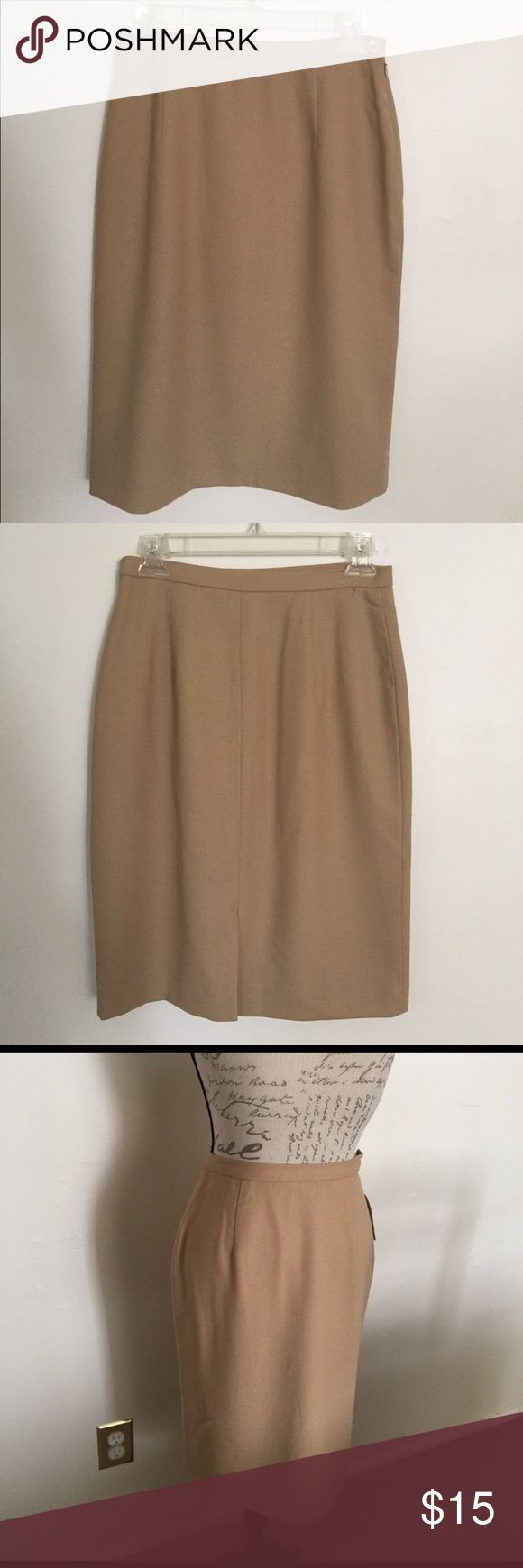 """Tan Pencil Skirt by Rena Rowan Pencil Skirt by Rena Rowan. Size 6, Side zip with button closure. Back Slit. Fully lined, 100% Wool 100% Acetate lining. Great condition. No tags. Dry clean. Approximate measurements 29"""". Waist 24"""" Length Rena Rowan Skirts Pencil"""