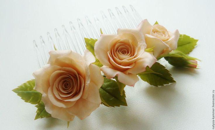 Купить Гребень с цветами - кремовый, бежевый, чайная роза, розы в прическу, цветы в прическу