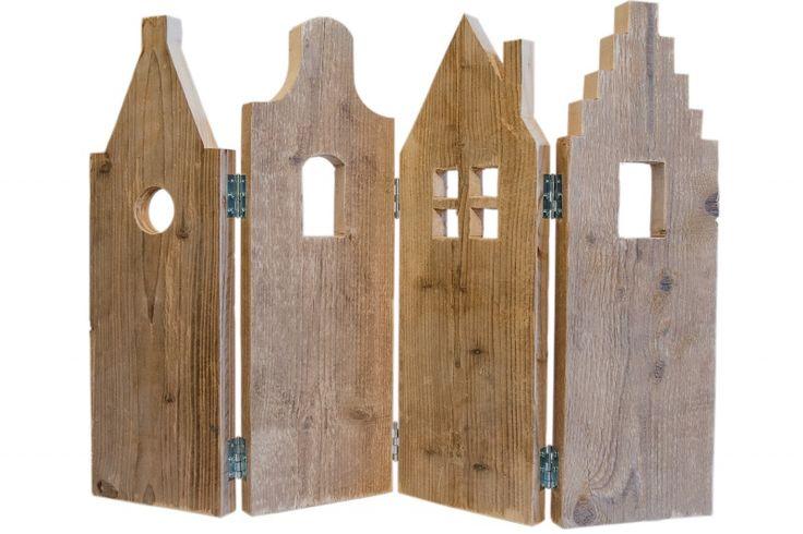 Raamdecoratie 'Oudhollandse geveltjes' | houten huisjes | vensterbank scherm | VanStoerHout