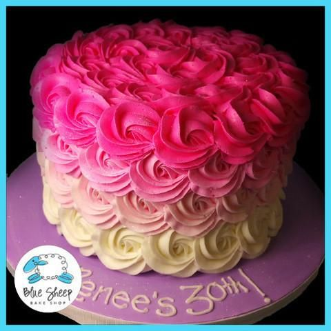 pink ombre buttercream birthday cake nj